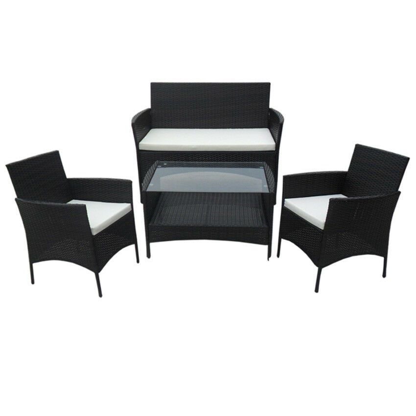 954 poly rattan lounge schwarz sofa garnitur polyrattan. Black Bedroom Furniture Sets. Home Design Ideas
