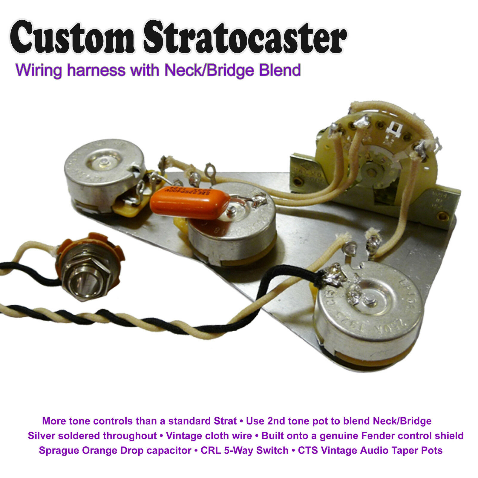 Cts Pots Wiring Diagram Strat Library Wire Harness Shield Deluxe Pre Wired Stratocaster Kit With Neck Bridge