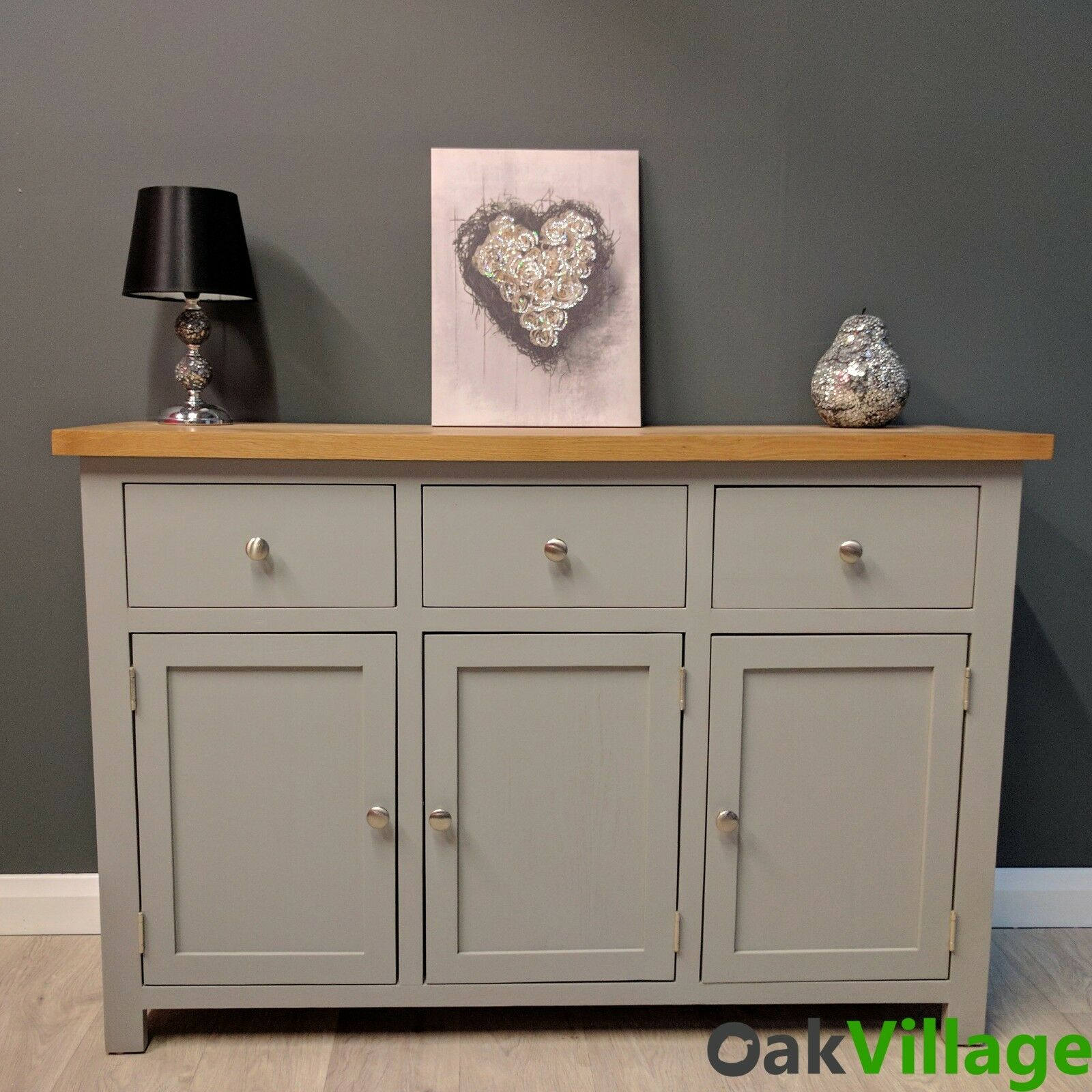Greymore Painted Large Sideboard Grey Oak Oak Cupboard