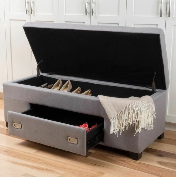 Storage Bench Cushion Shoe Rack For Entryway End Of Bed King Upholstered Bedroom 1 9free Shipping