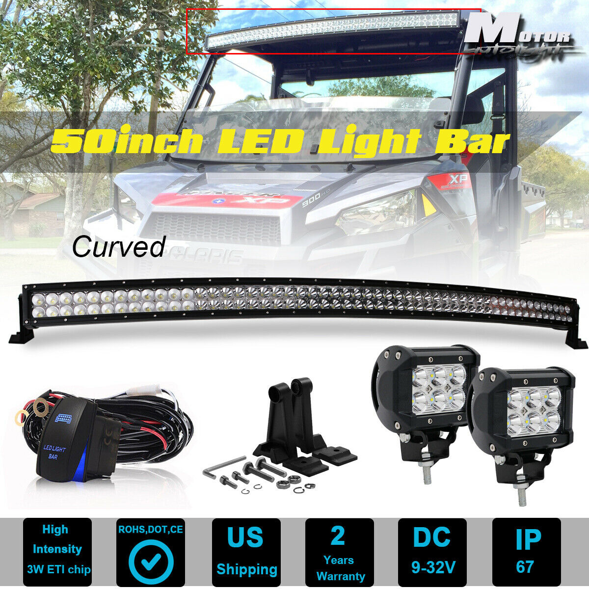 "50"" Curved LED Light Bar+ 2x Free 4"" Pods For Polaris XP 900 1000 1 of  12FREE Shipping 50"" Curved LED Light ..."