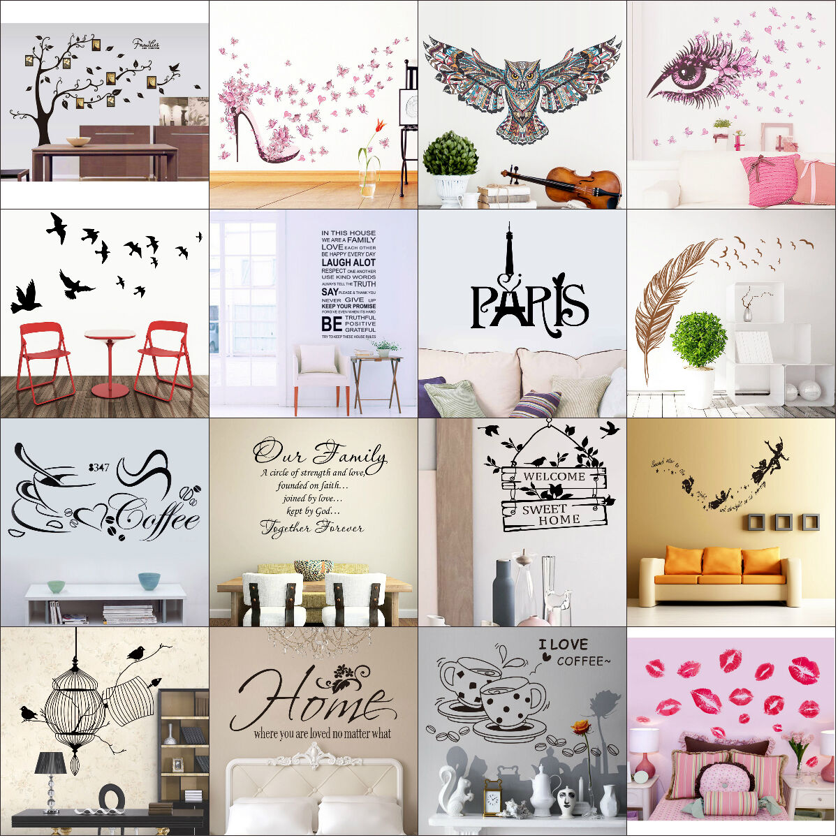45 styles removable quote art decor vinyl wall sticker mural