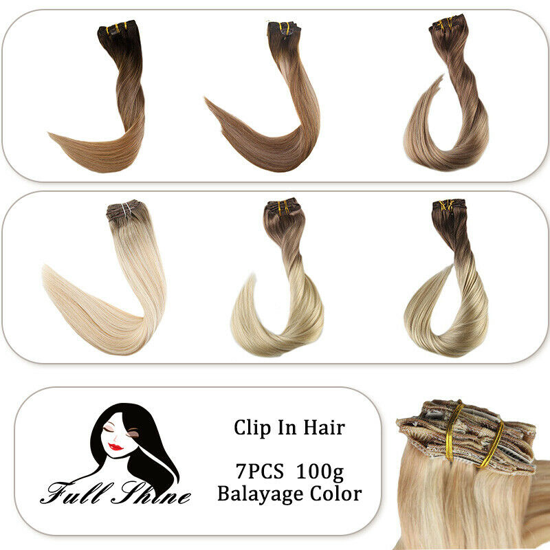 European Remy Human Hair Clip In Extensions Ash Blonde Ombre