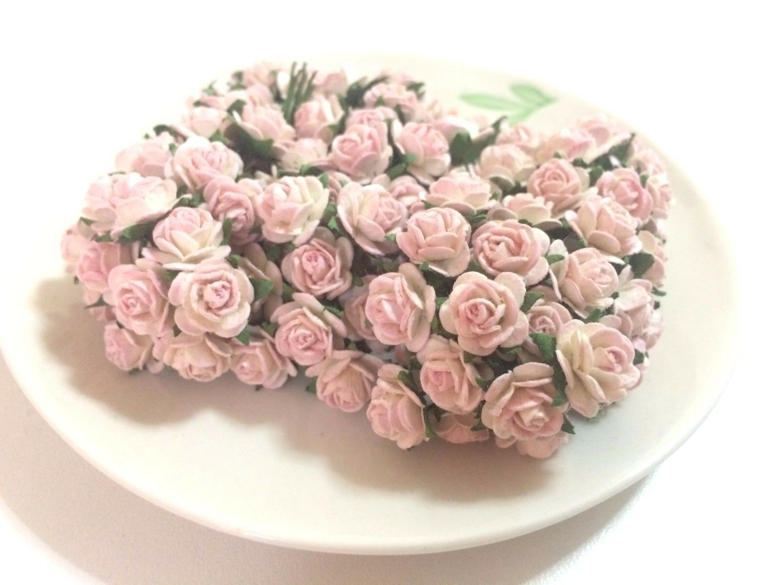 20 Mini Light Pink Roses Mulberry Paper Flowers Wedding Card