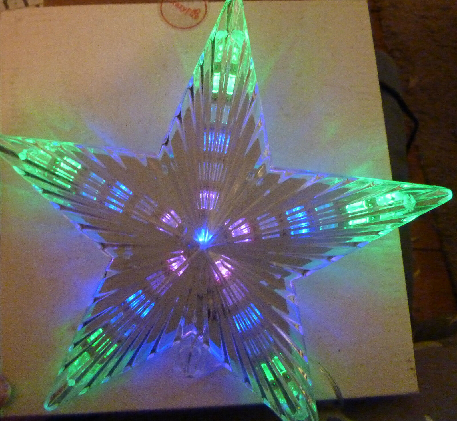 Led light up coloured 3d star christmas tree topper xmas for 3d star christmas decoration