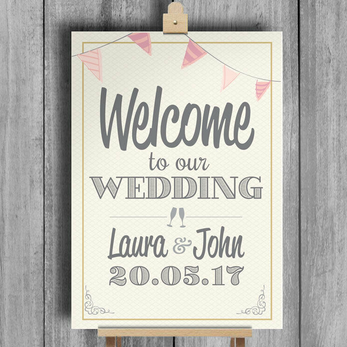 Bunting Welcome To Our Wedding Personalised Sign 1 Of 1free Shipping