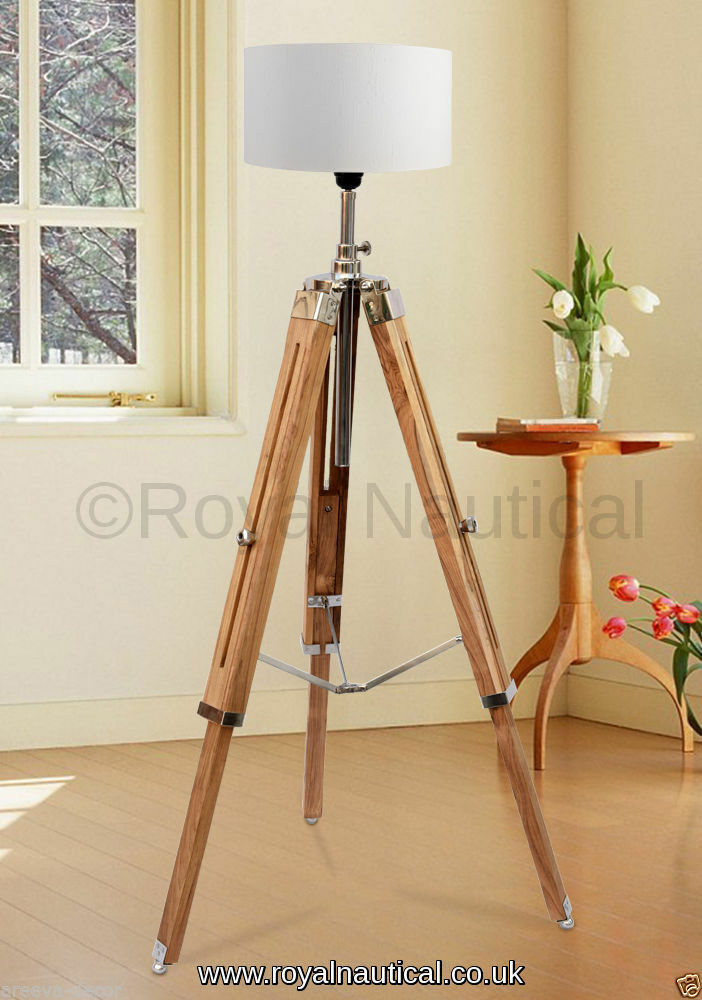 Wooden tripod vintage looks lighting stand floor lamp for Wooden tripod floor lamp ireland