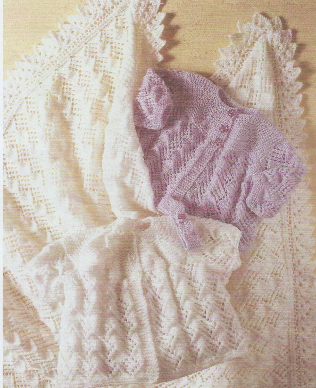 Free Knitting Pattern Baby Shawl Dk : Baby Knitting Patterns DK Matinee Cardigans, Headband and Shawl #15   ?1.99 -...