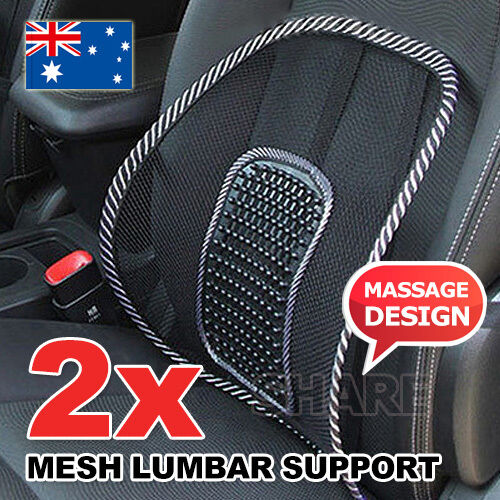 2x mesh lumbar back support posture corrector office chair car seat home cushion. Black Bedroom Furniture Sets. Home Design Ideas