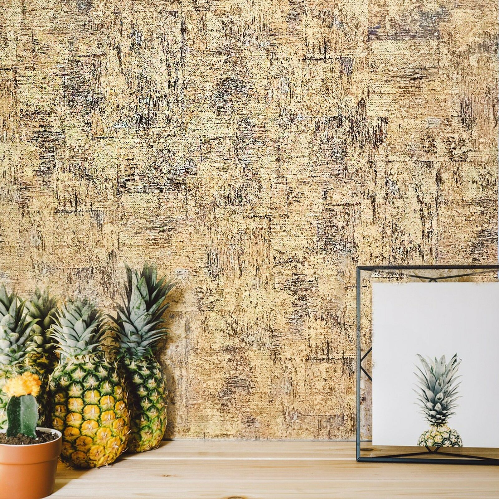 NON-WOVEN WALLPAPER PLAIN rustic cork pattern textured brown wall ...