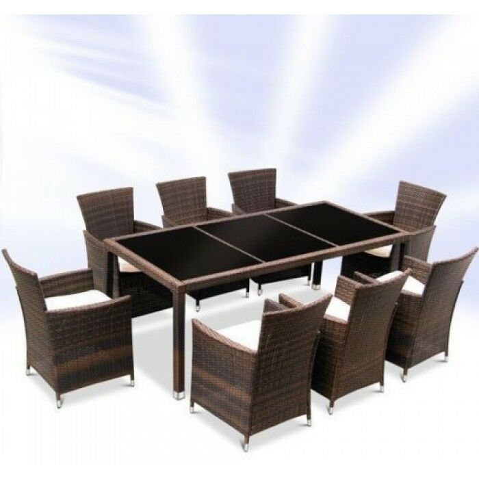 Rattan Garden Furniture Dining Table And 8 Chairs Dining Set Outdoor Patio •