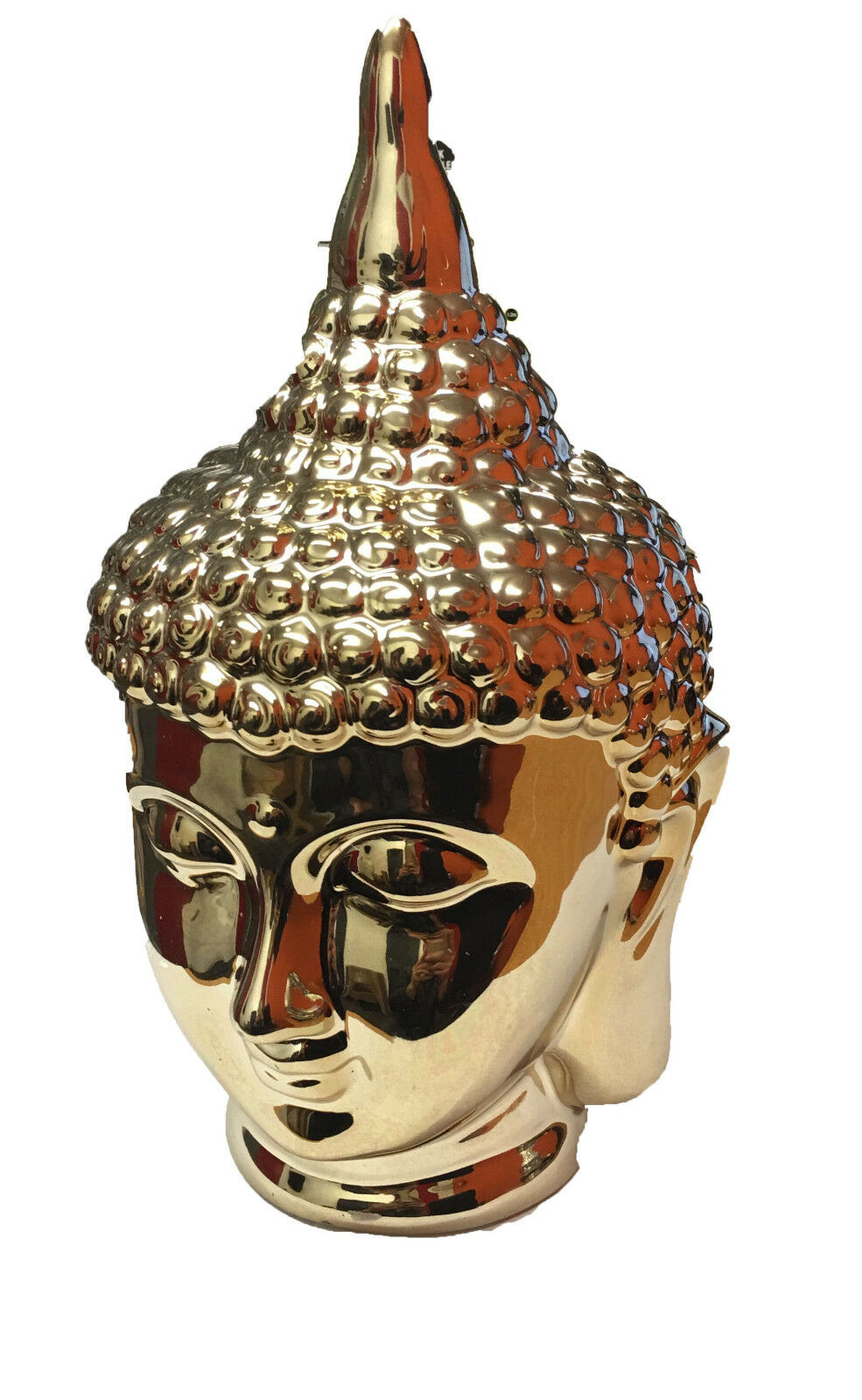 Gold chrome effect thai buddha head ornament home decor for Buddha decorations for the home uk