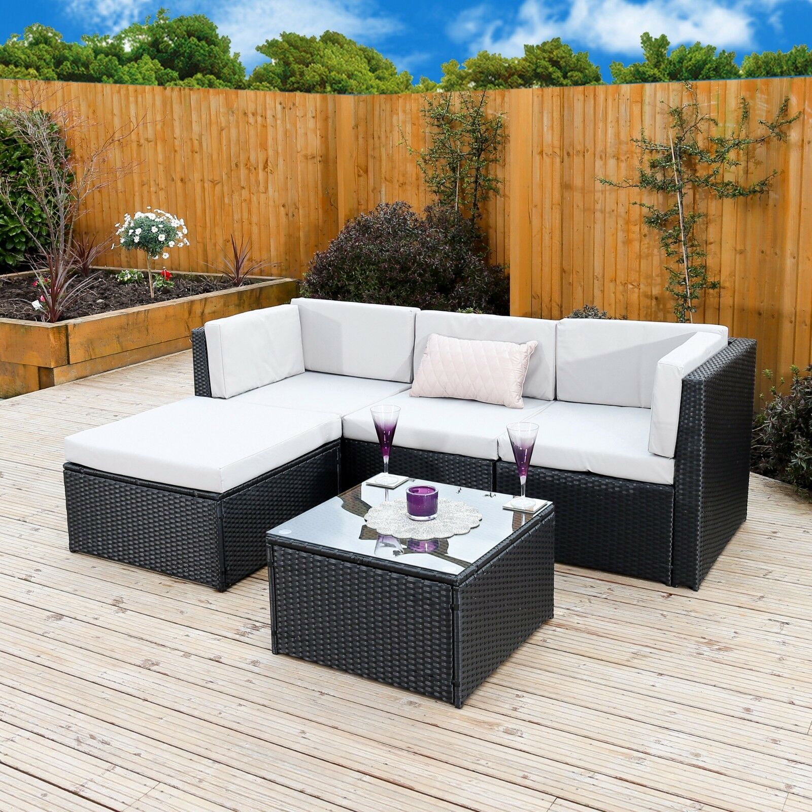 Modular Black Rattan Weave Garden Furniture Sofa Table Set Free Outdoor Cover