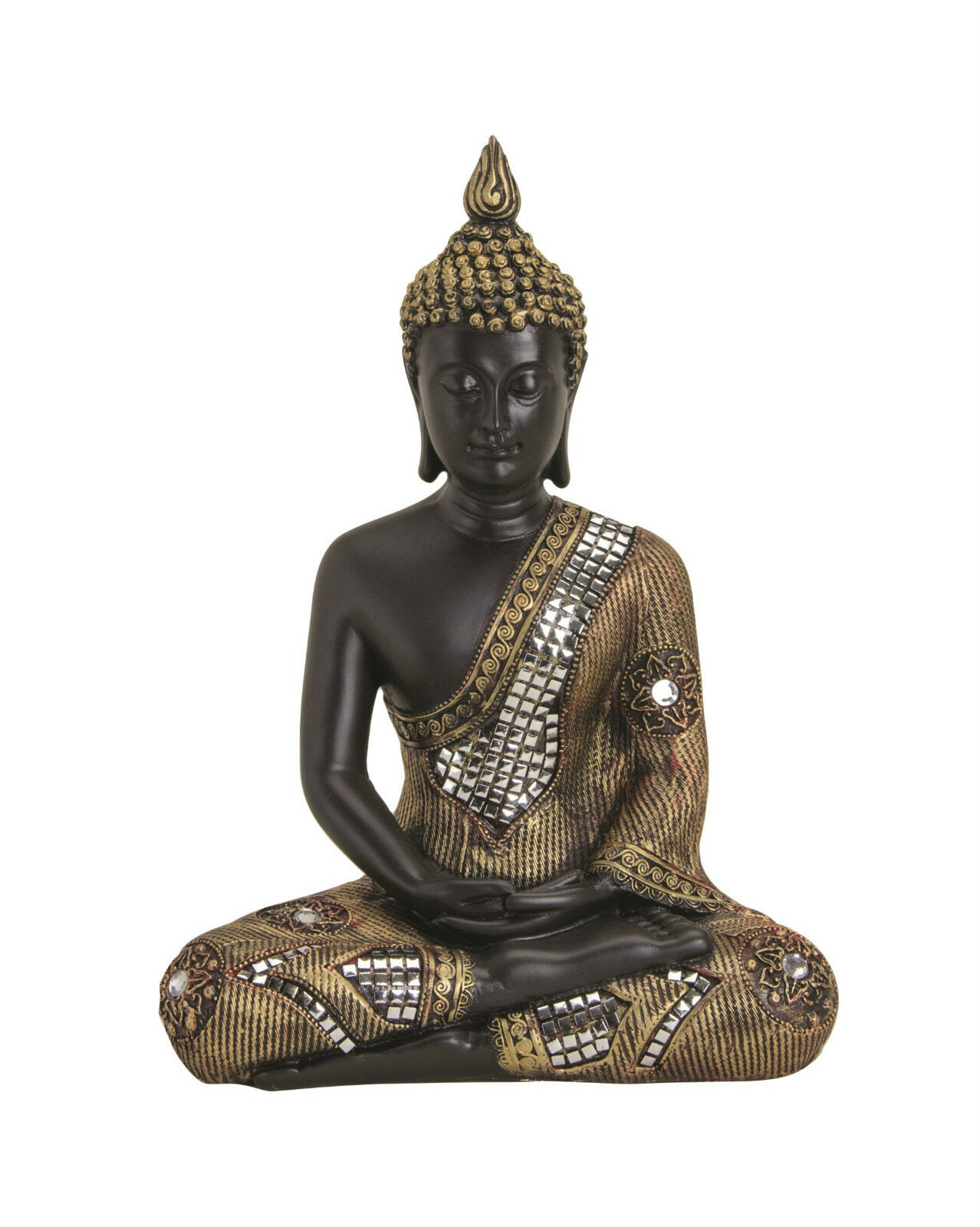 xl thai buddha budda figur statue feng shui sitzend schwarz rot gold ca 30 cm eur 17 00. Black Bedroom Furniture Sets. Home Design Ideas