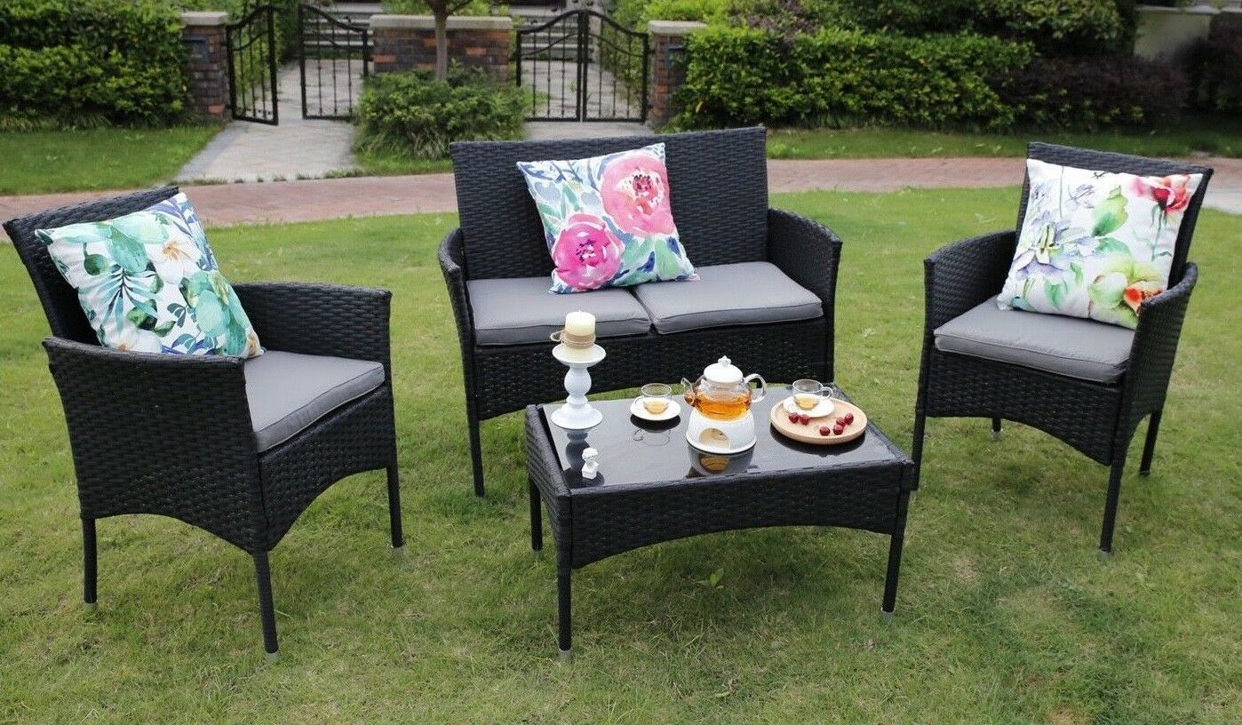 4 Piece Outdoor Rattan Furniture Conservatory Patio Sofa Set Table And Chairs