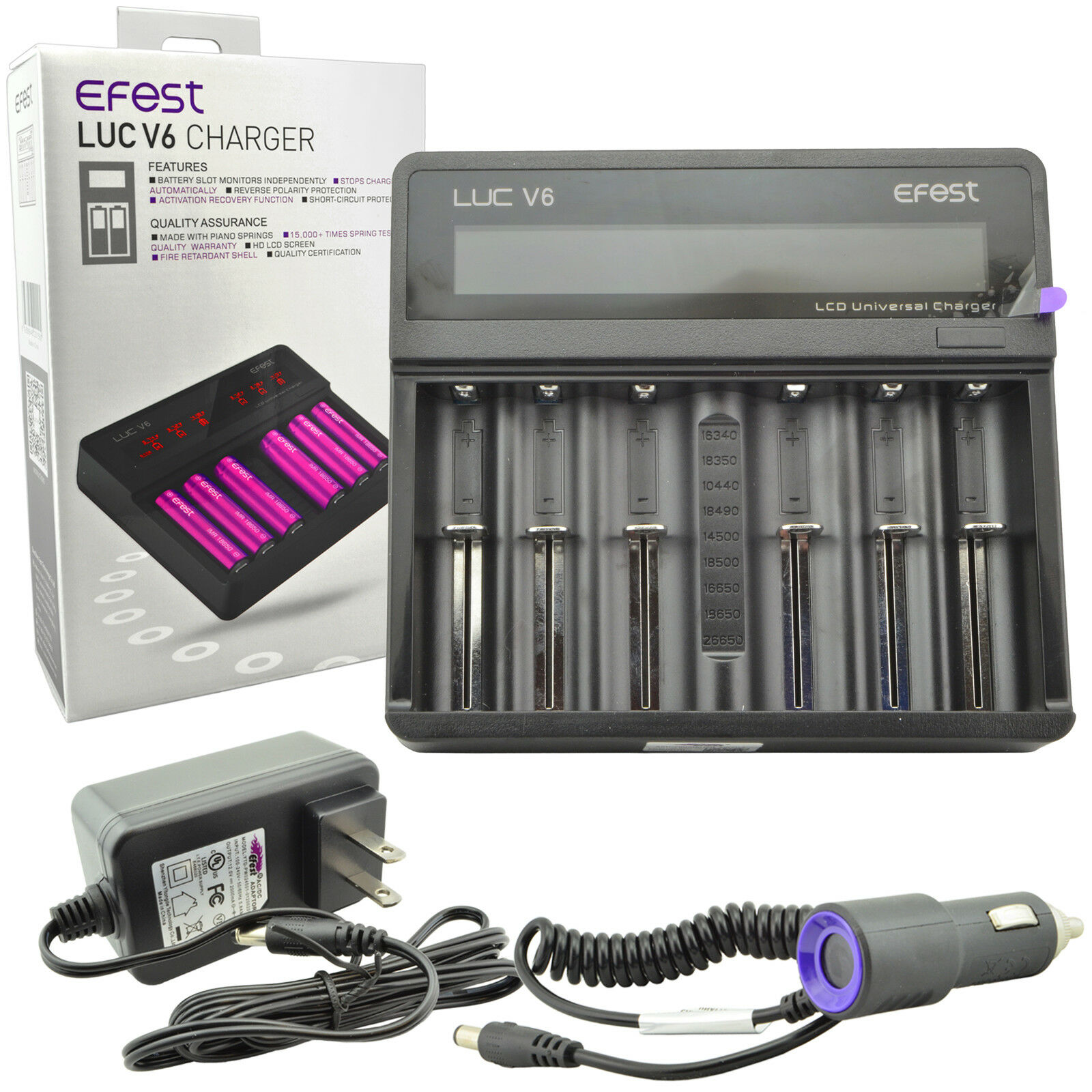 Efest Luc V6 Lcd 37v 6 Bay 18650 26650 16340 Li Ion Battery Charger Baterai 14500 Batre Recharge Aa A2 1 Of 9free Shipping See More