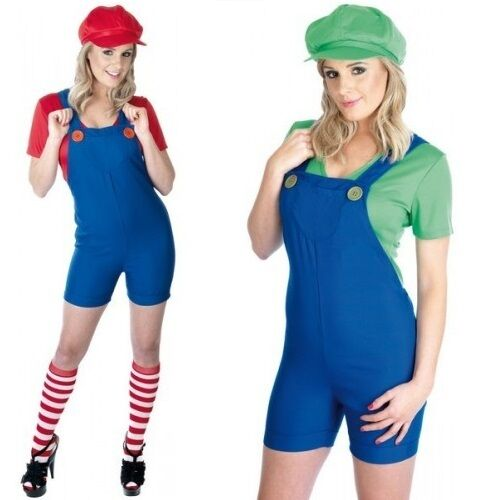 Ladies Mario And Luigi Plumber Couples Fancy Dress Costume Outfit 8