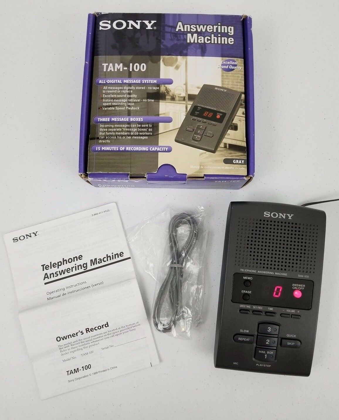 Sony tam 100 gray telephone answering machine all digital message 1 of 6 see more m4hsunfo