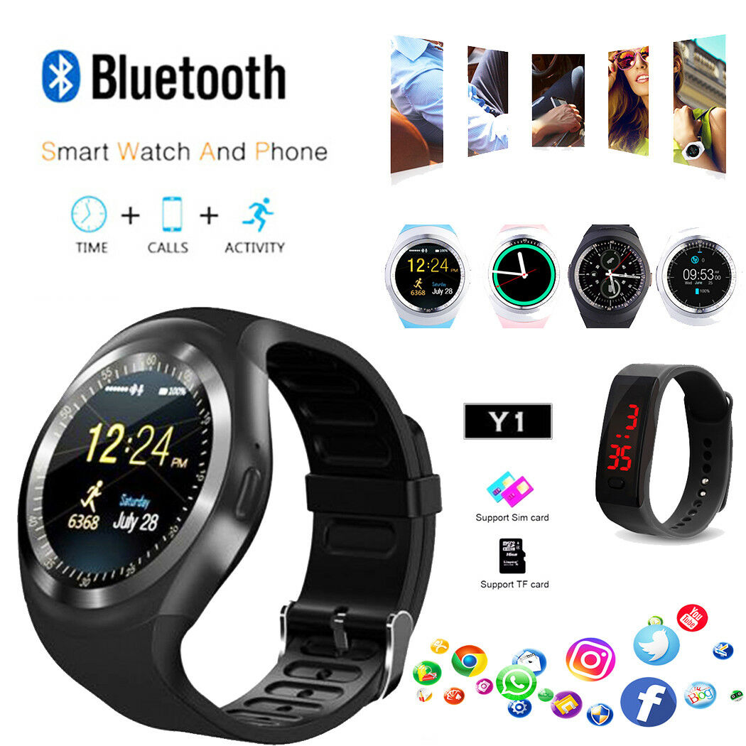Y1 Smart Watch Round Bluetooth Men Women Business Smartwatch For Ios 1 Of 11free Shipping