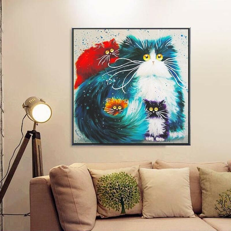 Cat 5d Animal Diamond Rhinestone Diy Painting Craft Kit Home Decor Decoration Picclick Uk