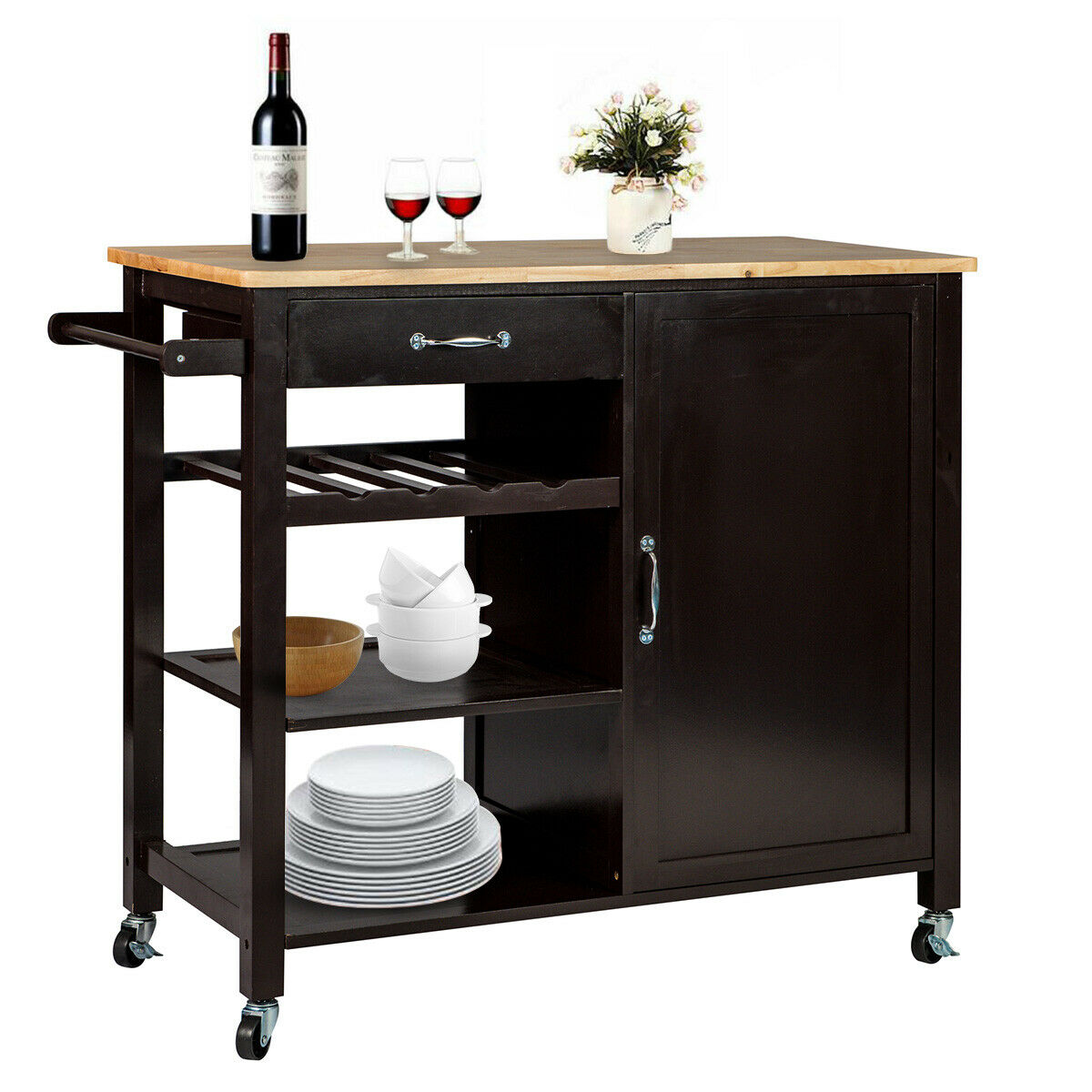 Wooden Kitchen Island Trolley Cart Utility Dining Storage Cabinet Serving Shelf 1 Of 6free Shipping