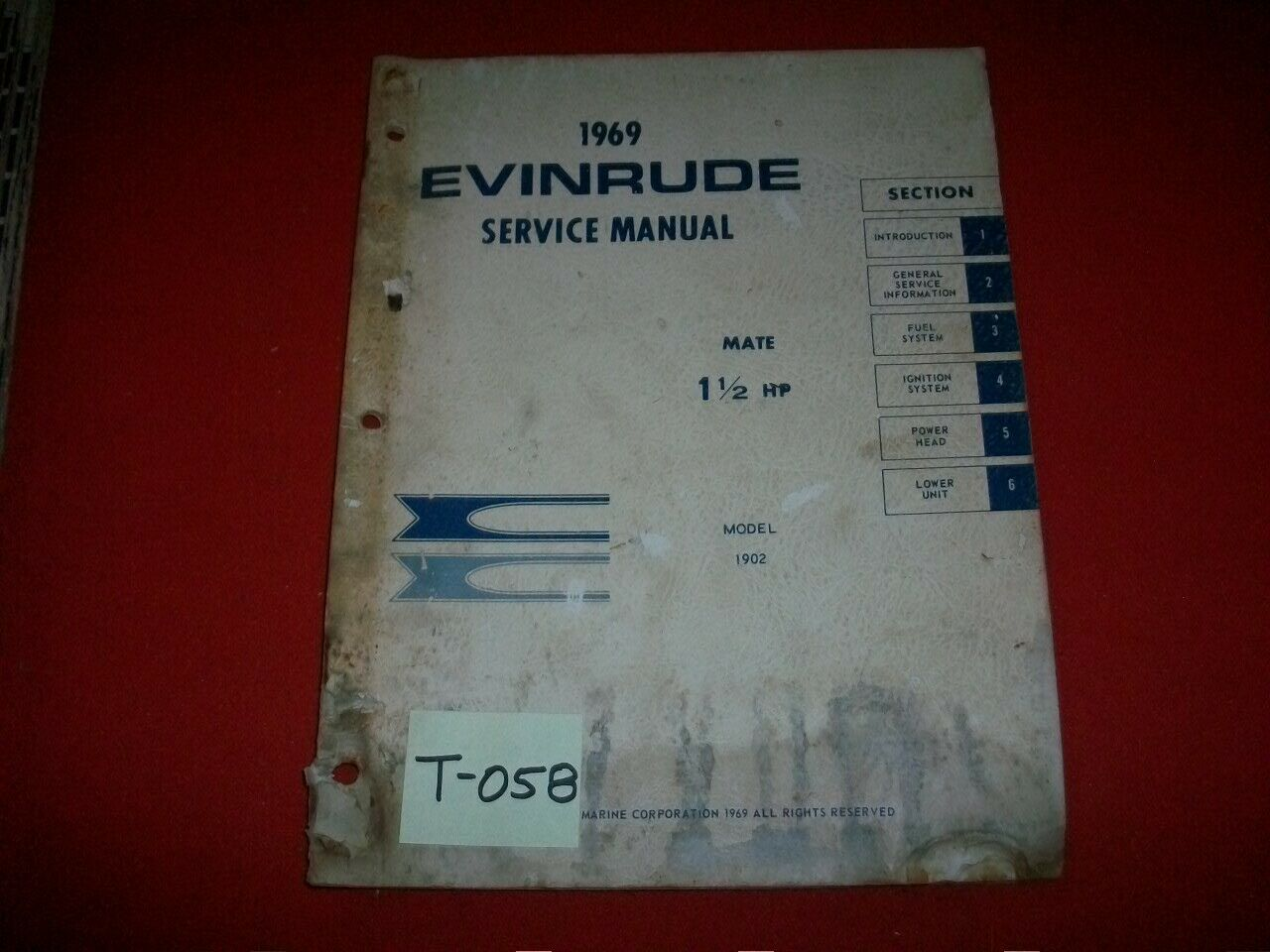 Vintage 1969 Evinrude Outboard Service Manual 1.5 Hp Mate 1 of 5Only 1  available ...