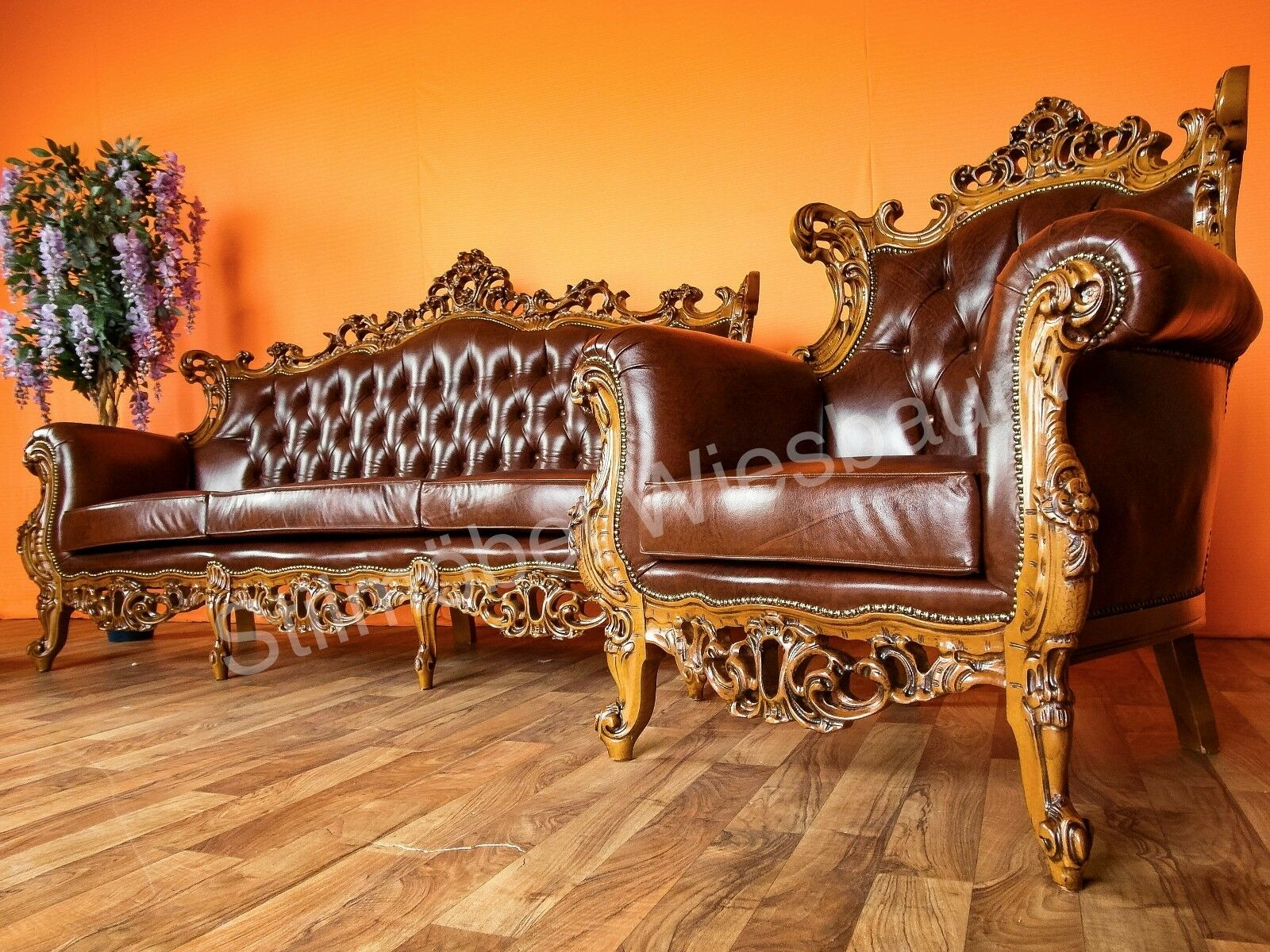 ital barock chesterfield couchgarnitur sofa mit 2 sesseln echtleder eur. Black Bedroom Furniture Sets. Home Design Ideas