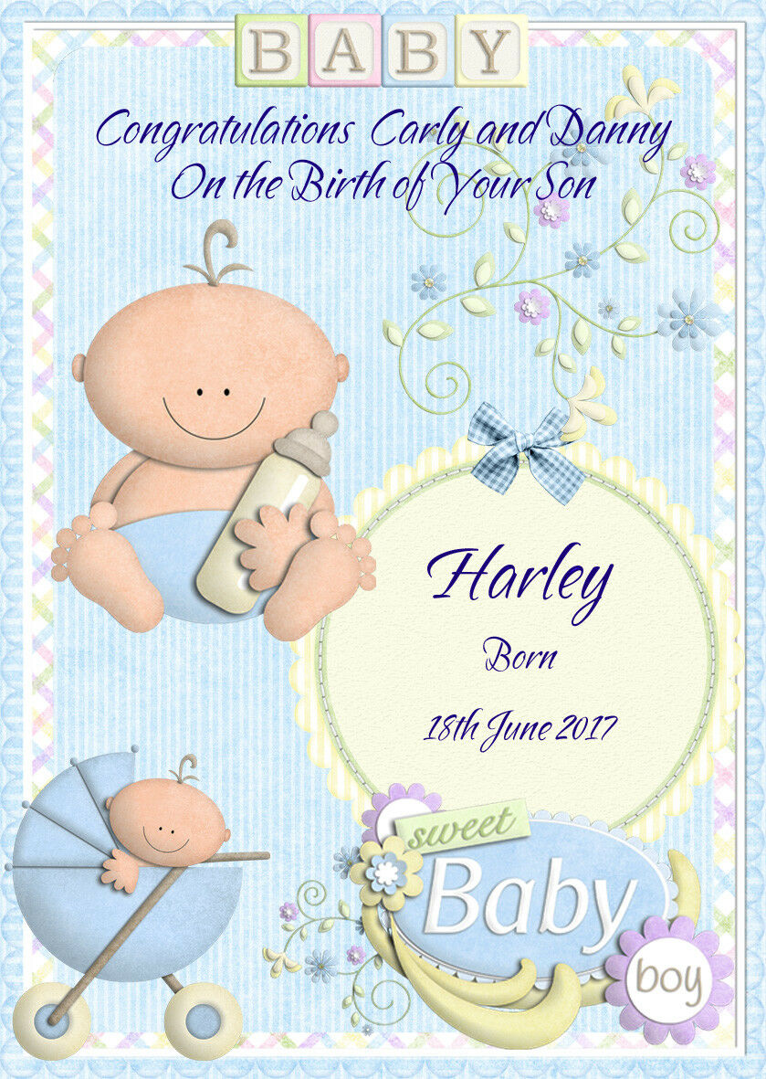 Personalised Baby Boy Birth New Born Card Any Namemessage 350
