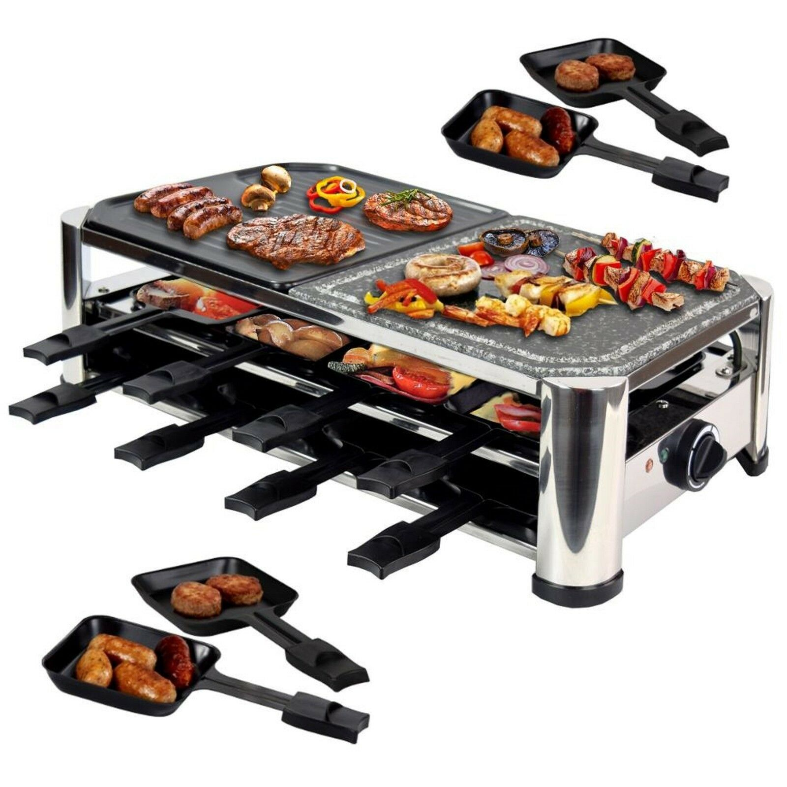 syntorx rac 1500w 16 raclette f r 8 personen mit 16 pf nnchen hei en stein eur 110 77. Black Bedroom Furniture Sets. Home Design Ideas