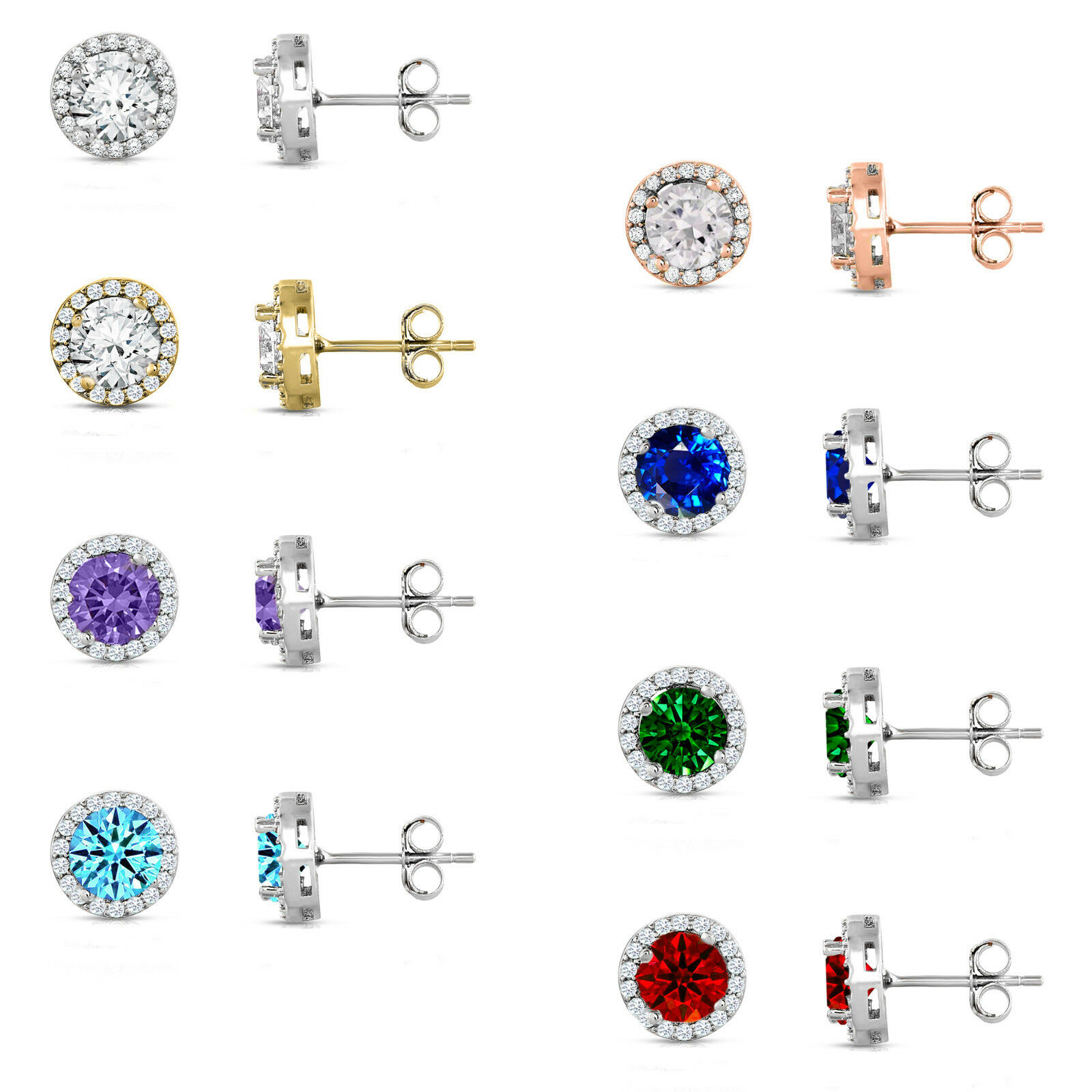 925 STERLING SILVER Round Halo Set CZ Stud Earrings Every Color