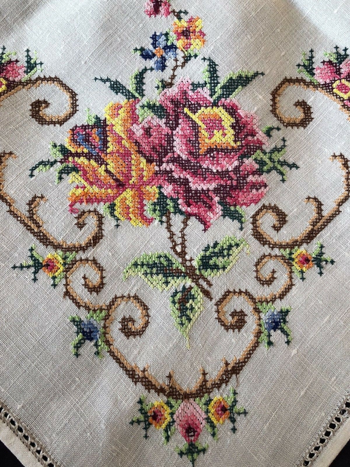 Vintage cross stitch hand embroidered large square cream