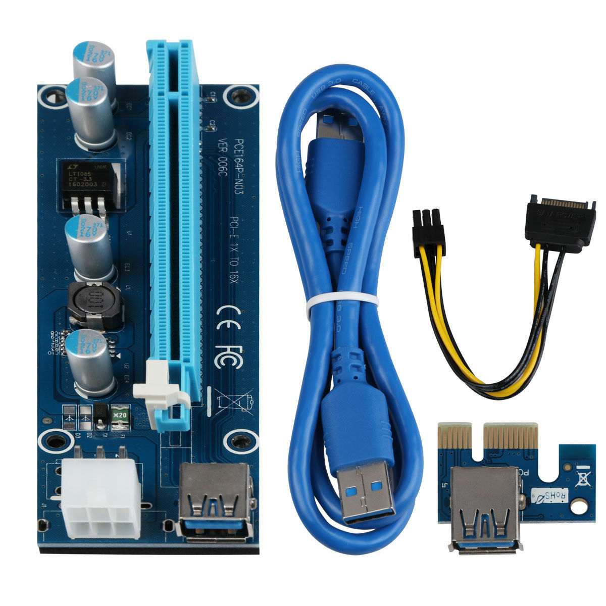 Usb 30 Pcie Pci E Express 1x To 16x Extender Riser Card Adapter Vga Power Cable 1 Of 8 See More