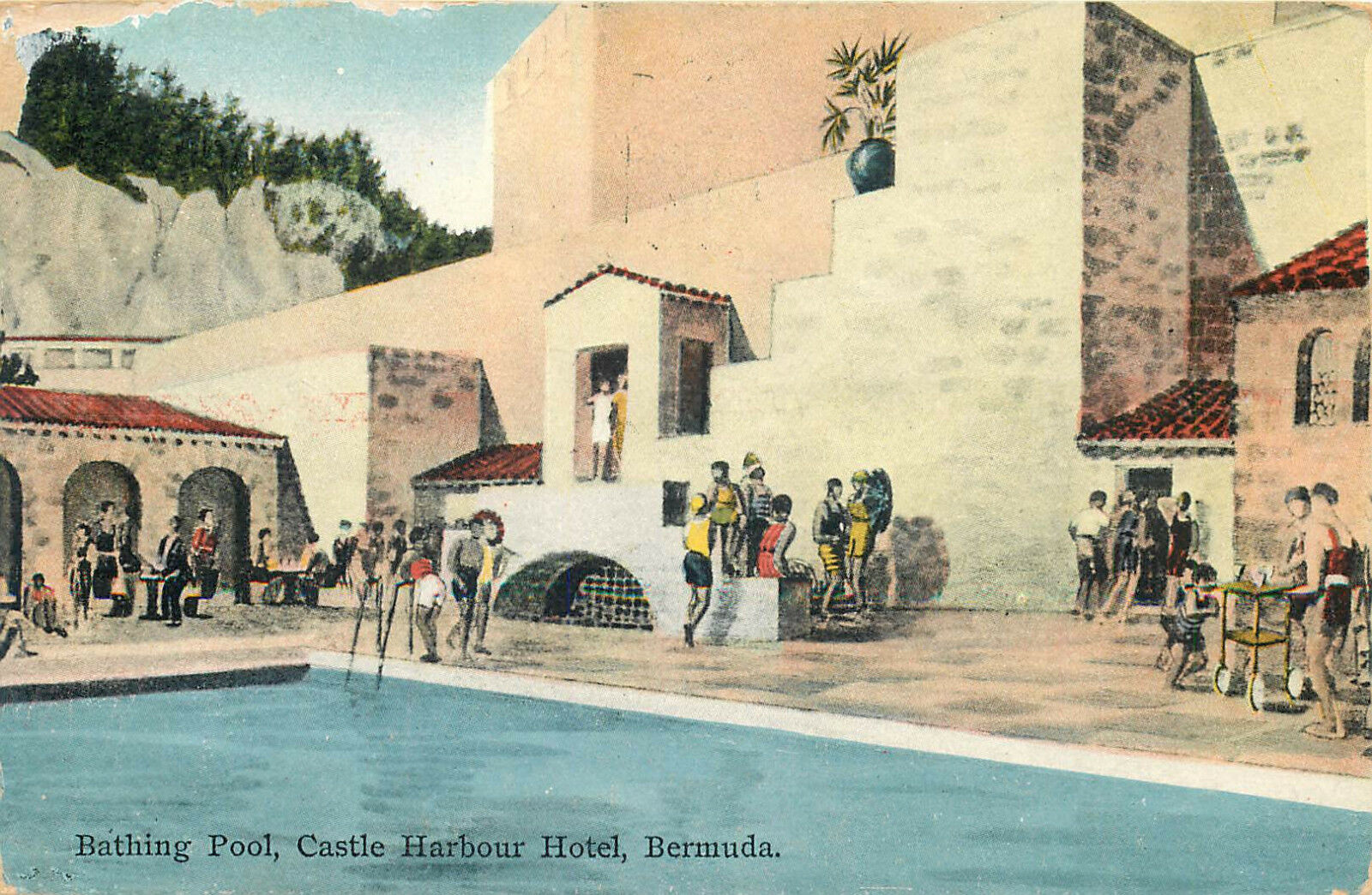 Bermuda Bathing Pool Castle Harbour Hotel Art Deco 1938 Postcard View 1 Of 2only Available