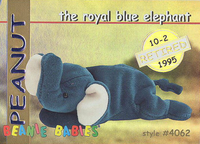 16930491ade TY Beanie Babies BBOC Card - Series 1 Retired (GOLD) -PEANUT Royal Blue  Elephant 1 of 1Only 1 available See More