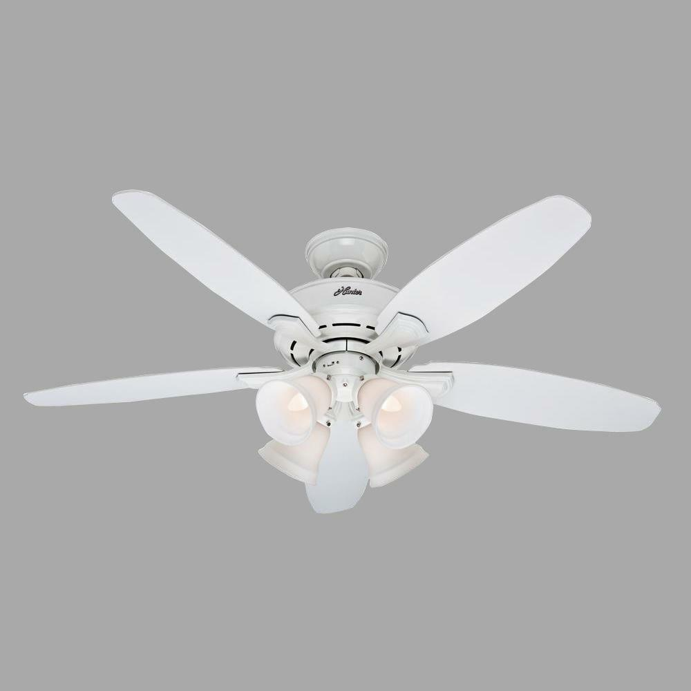 Landry 52 Indoor White Ceiling Fan With Light Kit 5 Blades Brand 1 Of 1free
