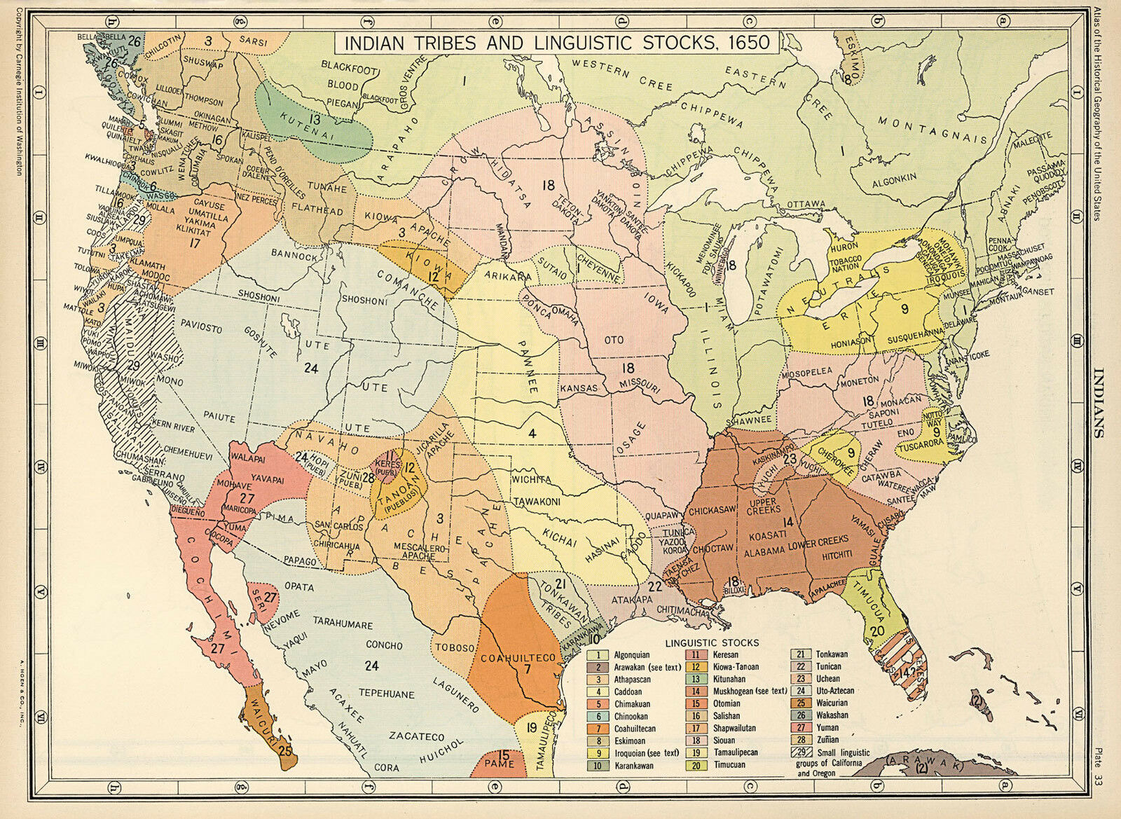 1650 US MAP Indian Tribes & Linguistic Stocks Native American ...