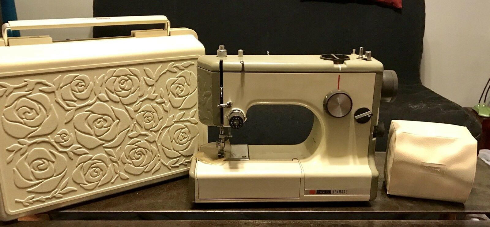 Vintage Sewing Machine Sears Kenmore Portable 158-10301 Case Portable NEVER  USED 1 of 12 See More