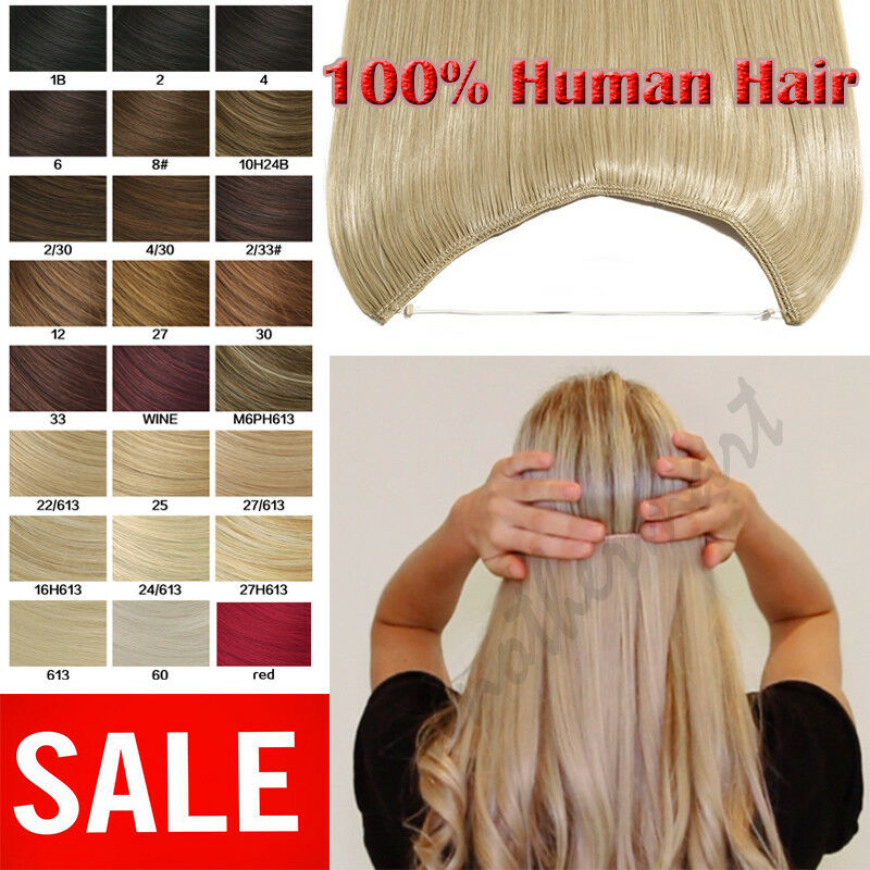 Us Stock Hidden Crown Invisible Wire Line Weft Remy Human Hair
