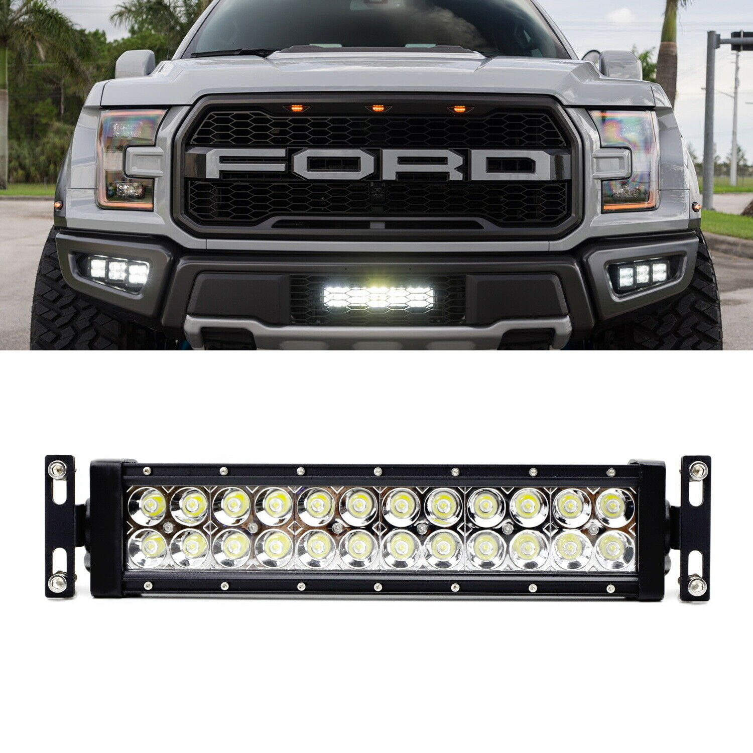 Invisible Behind Oem Grill Mount Led Light Bar Kit W Wiring For 17 Also Dodge Ram With On Rigid Ford