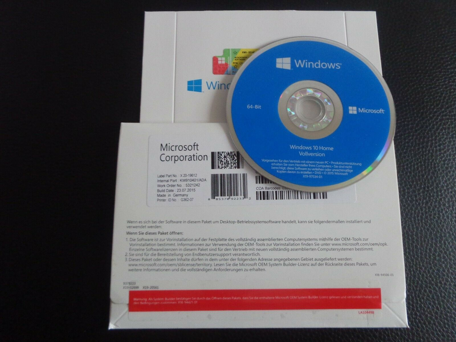 ms microsoft windows 10 home 64 bit deutsch ovp key oem