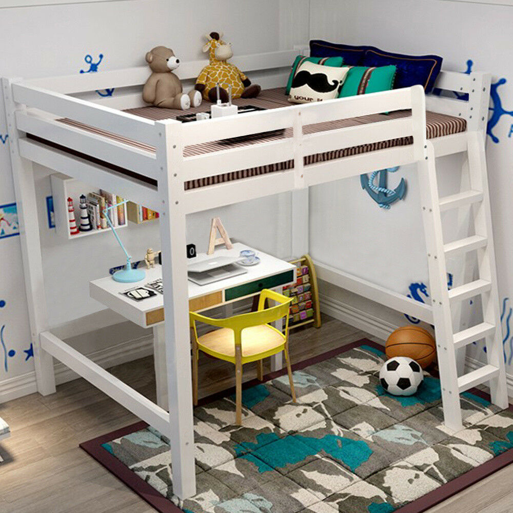 WHITE Wooden High Sleeper Bed Frame Kids Cabin Sleepstation Ladder Bunk UK 1 Of 6FREE Shipping