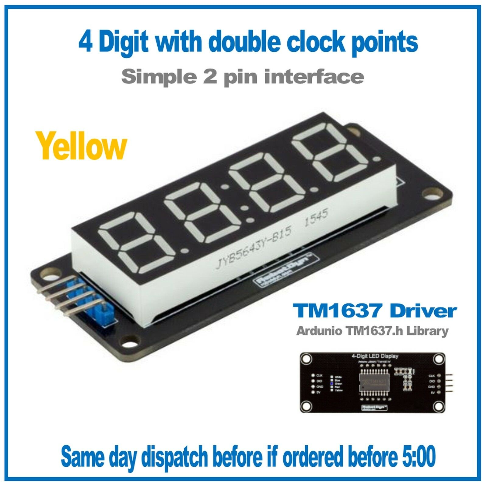 4 Digit 7 Segment Led Display Module 056 Yellow Tm1637 Arduino Parallel Digital Tube Static Circuit Common Anode 1 Of 3free Shipping