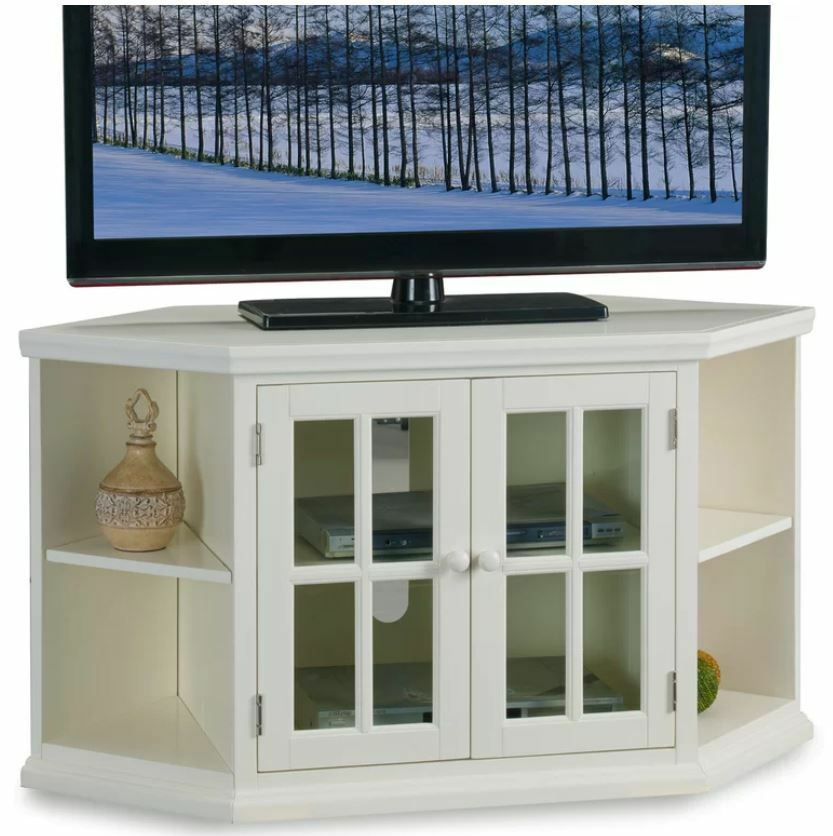 Smart Tv Stand Small Corner 4k Entertainment Center White Curved Up To 60 Inch 1 Of 6only 2 Available See More