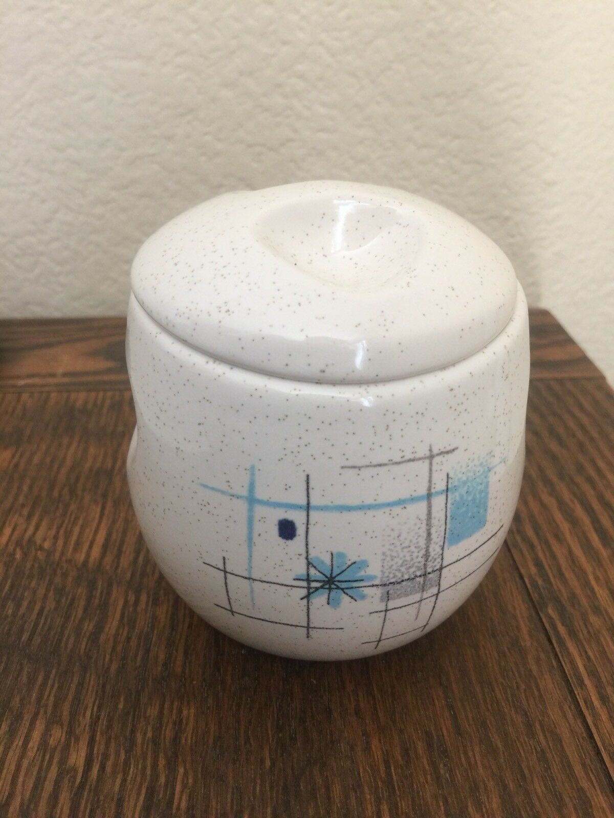 FRANCISCAN OASIS SUGAR Bowl with Lid, Blue Starburst, MCM, Mid ...