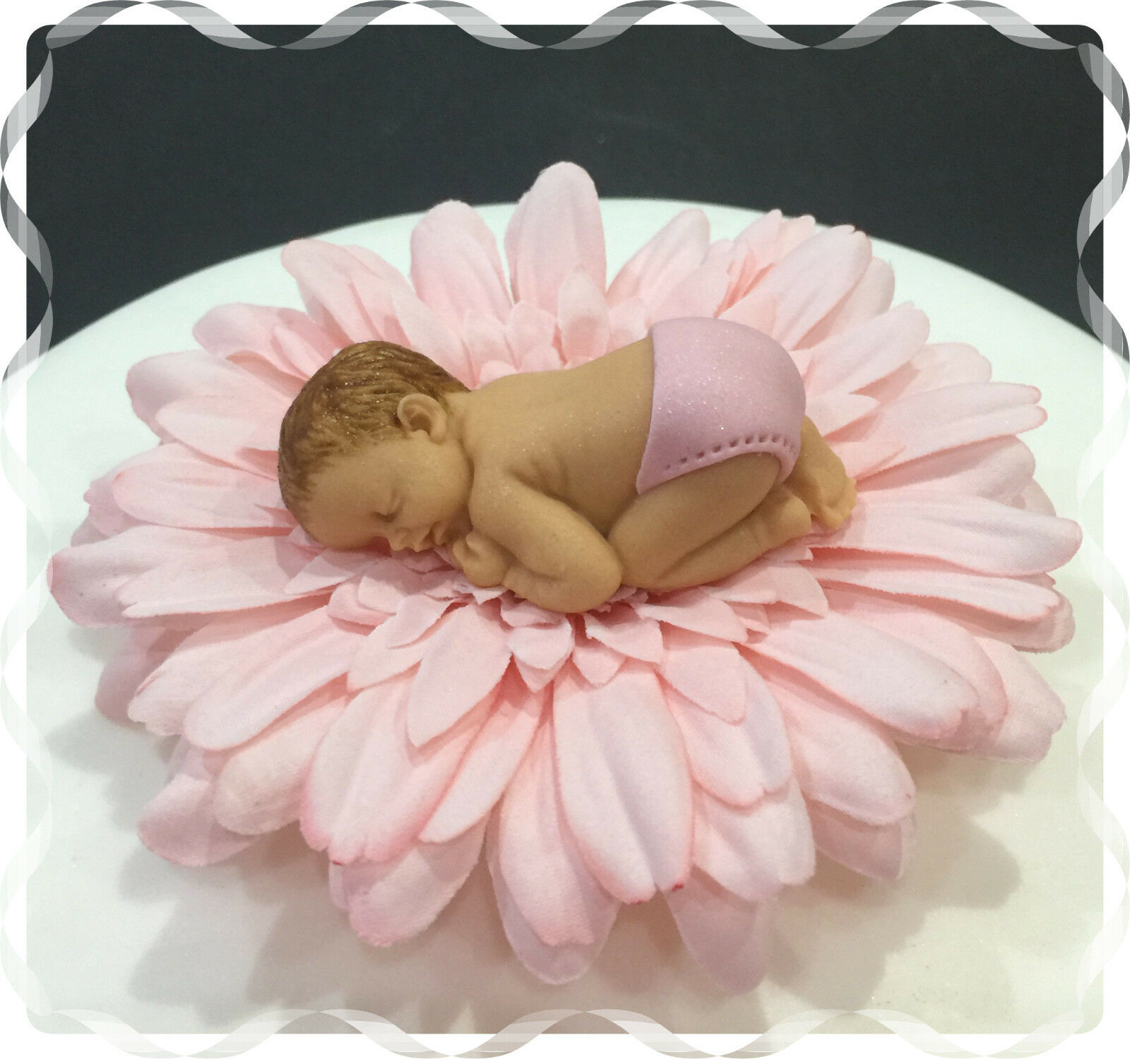 Baby Girl Pink Daisy Flower Cake Topper Christening Baby Shower