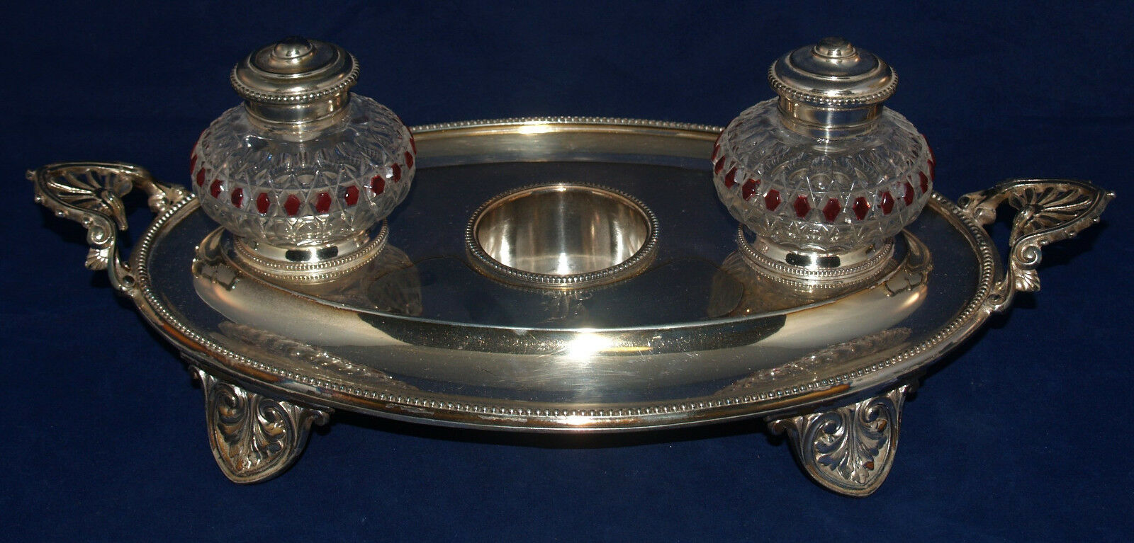 Antique Desktop Inkwell Ink Stand Desk Set Elkington Silverplate Cut Glass 1 Of 12 See More