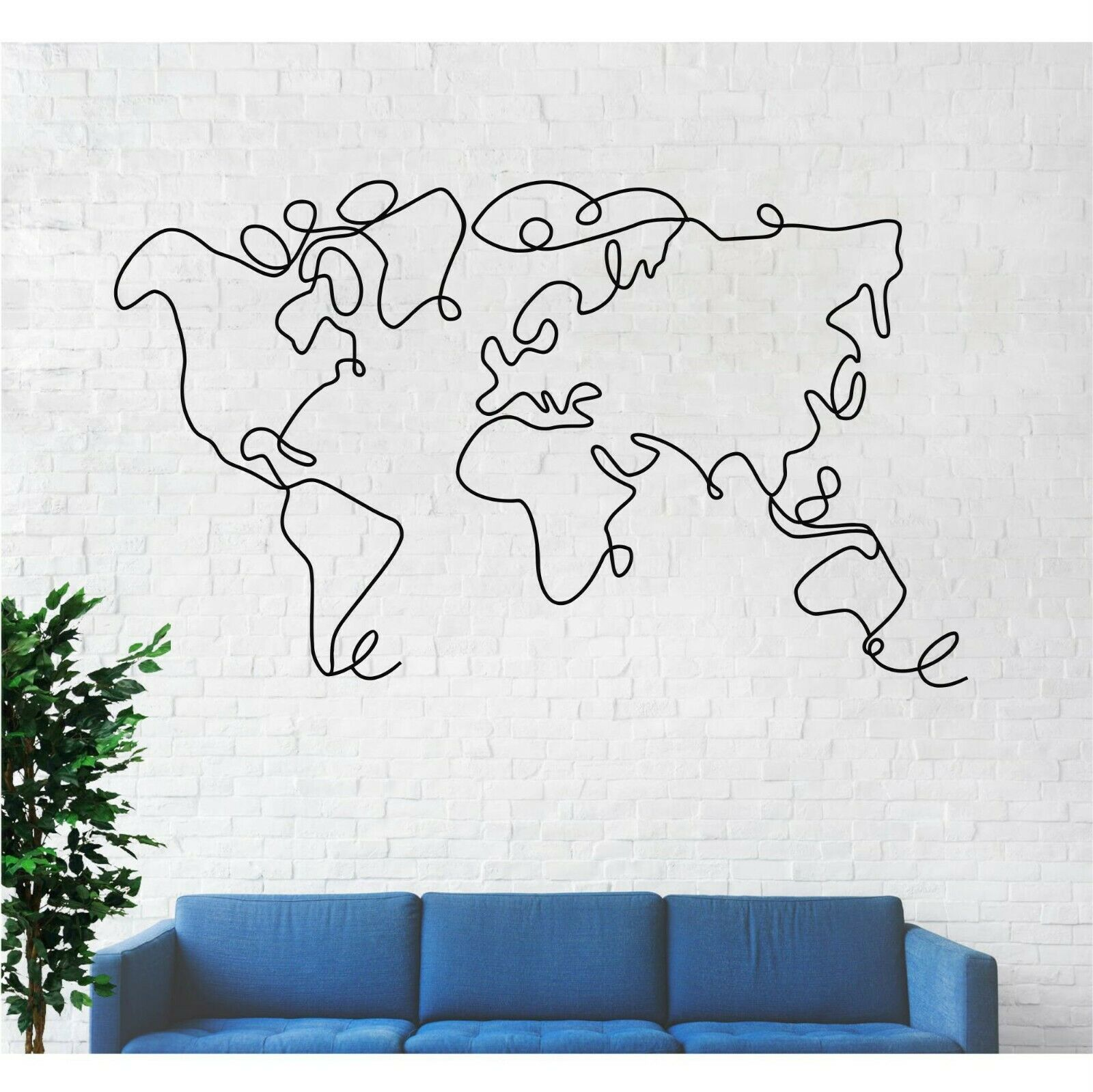 Geometric World Map Metal Wall Decor Home Office Living Room Bedroom  Decoration 1 Of 5FREE Shipping See More