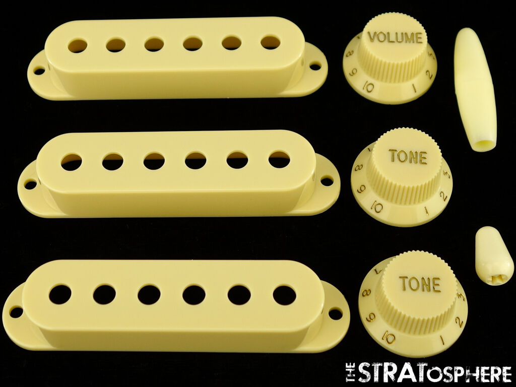 New Cream Accessory Kit Pickup Covers Knobs Tips For Fender Stratocaster Strat 5way Wiring Crl Switch Cts Pots