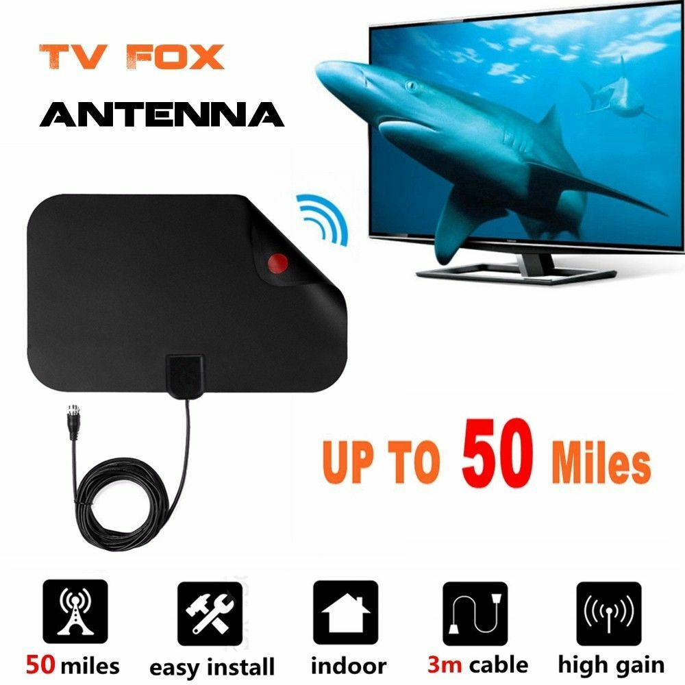 Digital High Definition Ultra Thin Flat Antenna Hdtv Tv Hd Vhf Fox Scout Style