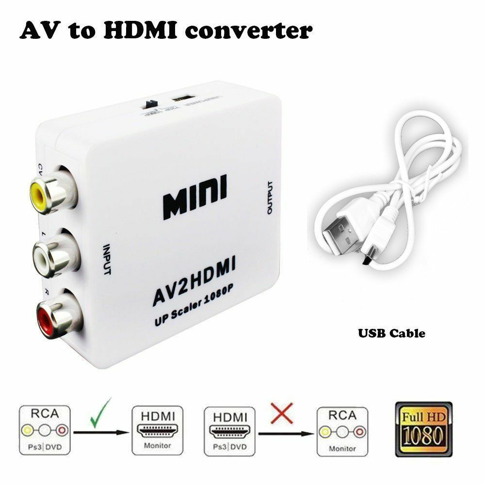 1080p Rca To Hdmi Av Hdtv Video Converter For Nintendo 64 N64 Conventer Or Nes Snes 1 Of 9free Shipping